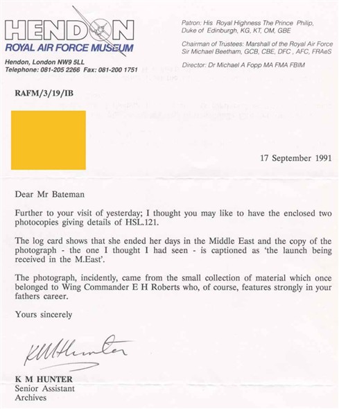 Photo:Letter from Hendon RAF Museum concerning HSL 121