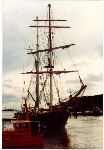 Photo:Old sail boat visiting Newhaven - c1982