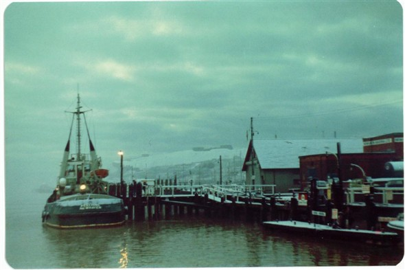Photo:WEST QUAY - MEECHING TUG/LIFEBOAT STATION/OLD FUEL PUMPS December 1981