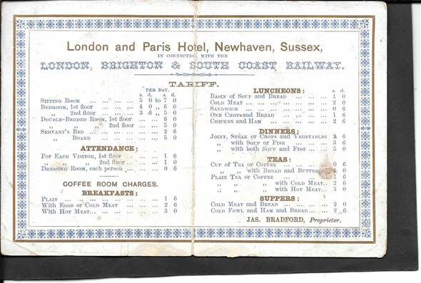 Photo:Tariff card for the hotel