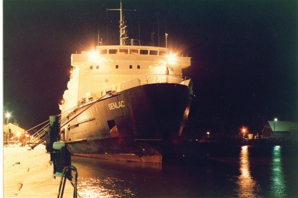 Photo:SENLAC - moored up in the snow (Jan 1985)