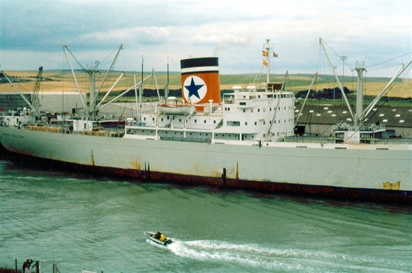 Photo:Blue Star Line - Buenos Aires Star built 1956 8,397 gross tons