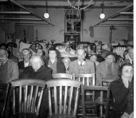 Photo:Some of the audience in a Boxing Night staff concert on one of the wards, c.1952