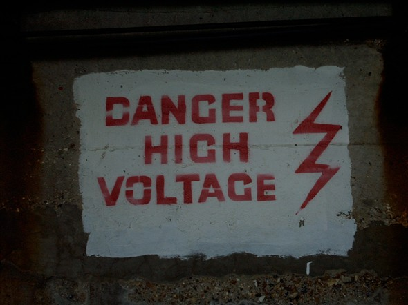 Photo:Danger sign under the arches 2000