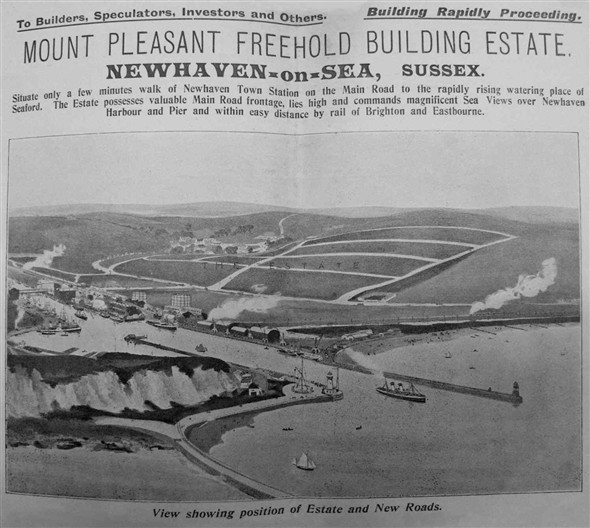Photo:Artists impression on the front cover of the proposed Mount Pleasant Freehold Building Estate, Newhaven-on-Sea, Sussex, Prospectus, c.1904