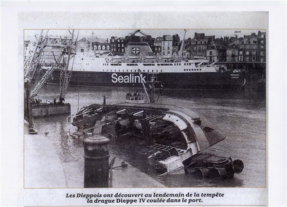 Photo:MV.Senlac in the ramp at Dieppe after a Northerly Gale sank the Bucket Dredger.