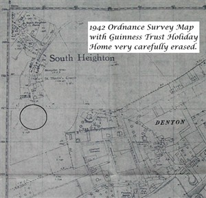 Photo:Wartime Ordnance Survey Map with GTHH officially erased for the duration