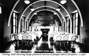 Photo:GTHH Dining Hall showing WWII painting of Newhaven Harbour