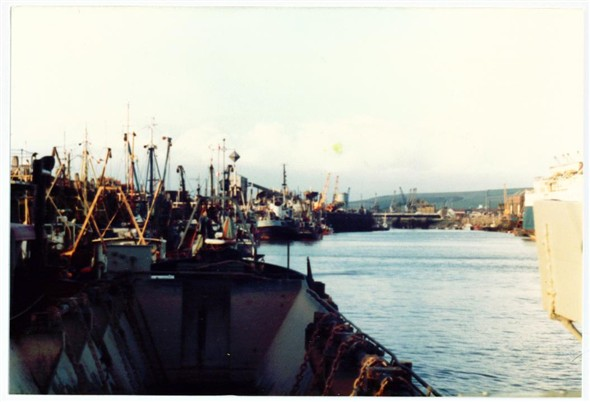 Photo:View upriver from the Dredger's barge 1983
