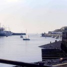 Photo:Harbour view with a freighter at the East Quay