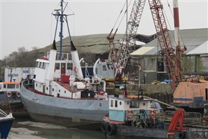 Photo:March 2012. Bought by Murray Tugs, Meeching is seen at Klondyke Wharf in Queenborough undergoing restoration.