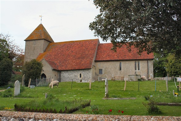 Photo:St Mary's Church, Tarring Neville - with sheep and goats!