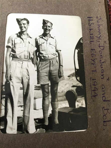"Photo:Johnny ""DonJuan"" & Bob Fenton Egypt 1944"