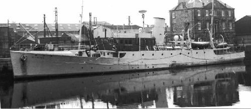 Photo:In her earlier life as Minna, moored at Fleetwood
