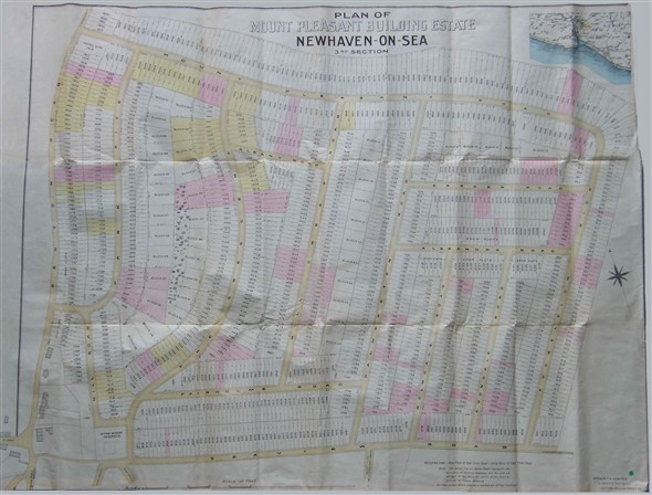 Photo:Mount Pleasant Building Estate, Newhaven-on-Sea, 3rd Section, dated July 1903, showing Station Road, Mount Road, King's Avenue; Beresford Road, Arundel Road, Claremont Road, Seaview Road, Fairholm (sic) Road, Palmerston Road, Holmdale Road, Avondale Road, Alexandra Road, Albany Road, Talbot Road, Carden Road and Mount Pleasant Road.