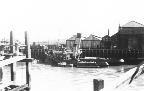 Photo:East Quay old tugs and the marine workshops - c1961