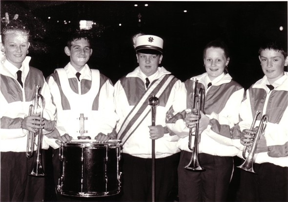Photo:Newhaven Bonfire night 1997, Newhaven Youth Marching Band preparing to march