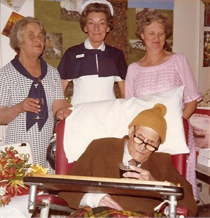 Photo:Ben on his 100th birthday with Dorine, sister Catherine Maxted and Phyl