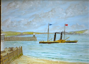 Photo:A painting of a two-funnelled paddler entering the harbour. Signed Shipsey '72.(He was a local artist, and more of his paintings can be seen in the Museum).