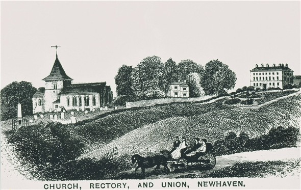 Photo:HMS Brazen memorial / St Michael's Church / Old Rectory / Workhouse - Engraving from 1855
