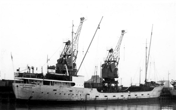Photo:Santa Marcherita owned by Rederij MS Santa Margherita built 1952 and of 500 gross tons. On 30th December 1961 she was in collision at Gothenburg with British Mallard and capsized