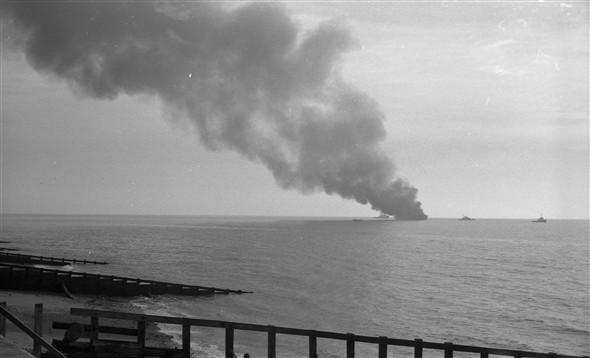 Photo:Sitakund on fire off Eastbourne