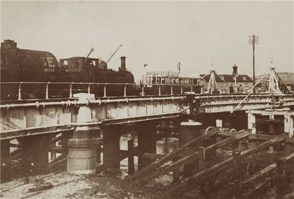 "Photo:Terrier 2636 ""Fenchurch"" crossing the old swing bridge - C1935"