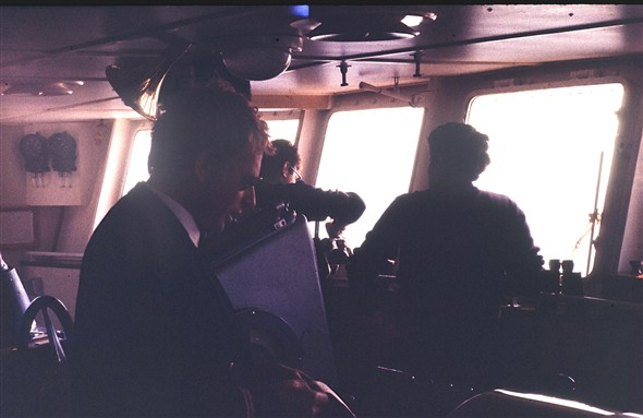 Photo:Bridge scene approaching Dieppe. Does anyone recognise the captain reading his reports mid-channel?