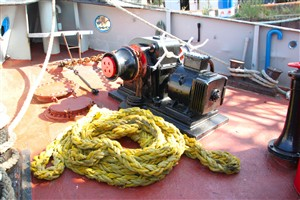 Photo:Refurbished, and almost spotless anchor windlass. The aft capstan is due for the same treatment, back to its original black.
