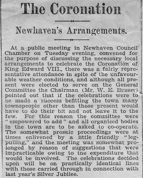 Photo: Illustrative image for the 'NEWHAVEN'S ARRANGEMENTS FOR THE CORONATION.' page