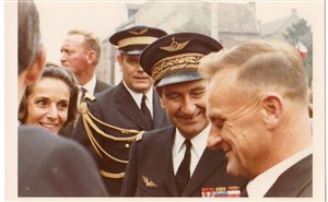 Photo:Jacques reunited with his wartime pilot, wartime 'nom de guerre', 'Cdmr Gorri', at Vitry-en Artois' in 1969, to commemorate the 25th anniversary of 342's return to liberated France. By now 'Gorri', whose real name was General Fourquet, was Chief of the French Air Force