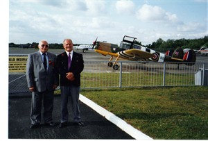 Photo:Jacques with his friend Marulli at Blackbushe (Hartford Bridge), in 2000. Marulli was shot down over Chevilly-Larue, Paris, while making a low level attack on a power station on 3.10.43, he evaded capture and escaped through occupied France to rejoin the squadron. On this raid Jacques was flying in the No.1 aircraft of a section of 4. The No.2 and 3 aircraft were shot down.