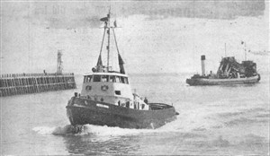 Photo:1st June 1960. Meeching passes the dredger Foremost Prince, as she enters Newhaven for the very first time, Fred Holden at the wheel.