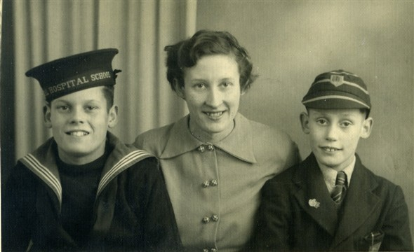 Photo:3 of Mary's 4 children: Edwin Warnes, Marcia Stapley & Lionel Warnes, taken 23 December 1952