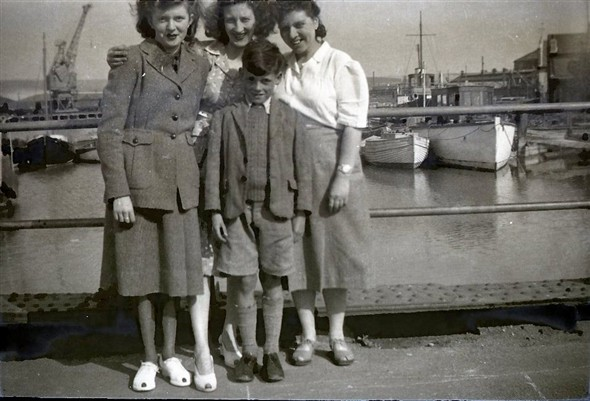 Photo:Photo 8: L-R: unknown, Marcia Stapley, Edwin Warnes & possibly Alice, a cousin of Marcia/Edwin? Denton Island Bridge, circa late 1940s