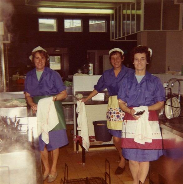 Photo:Photo 9: Marcia Tovey [nee Stapley] is centre, other 2 dinner ladies unknown. Tideway School kitchen, circa 1972