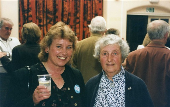 Photo:Barbara Giles with teacher Miss Cavadini