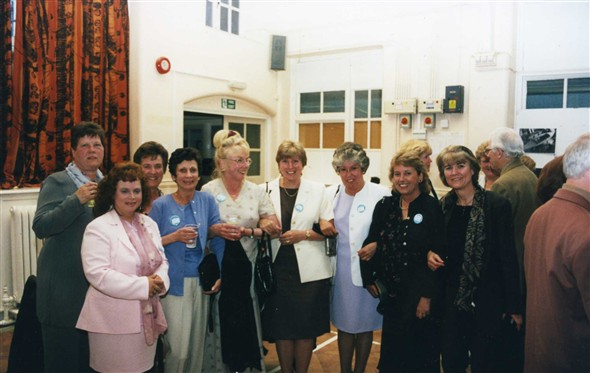 Photo:L-R Kathleen Ingram, Carol Geer, Margaret Cantell, the late Angela Groves, Anne Byrne, Pat Pawson, Pat Clear, Barbara Giles, Linda Blunden - teacher Mr Higgs in the background.