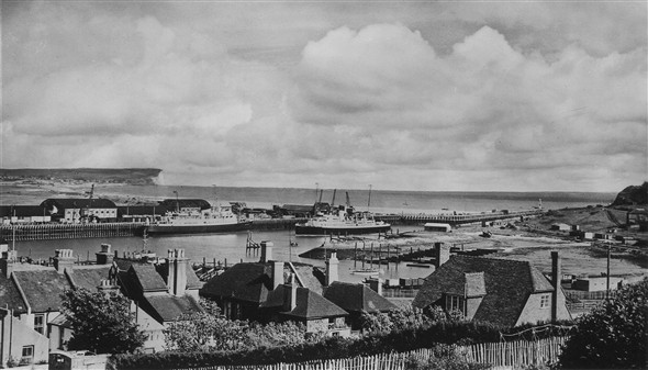 Photo:Newhaven Harbour and cross channel steamers Brighton and Worthing
