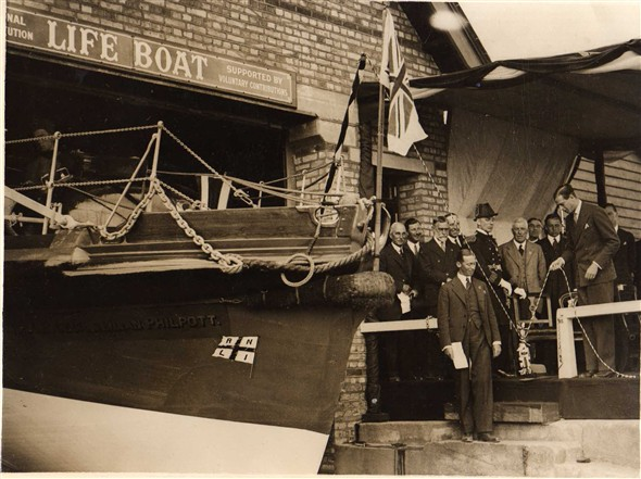 Photo:HRH Prince George, Duke of Kent christening the lifeboat.