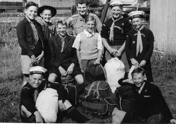 Photo:Circa 1953. Ready to go camping. Back row left to right: Micheal Pol, Alan Wilson, Jim Ince, Brian Comben, Dieter Lewry. Sitting middle: David Lambert, ? Jones. Sitting front: Colin Holden, David Hedges.