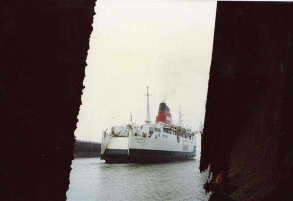 "Photo:March 1983 The ""Chartes"" outward bound for Dieppe."
