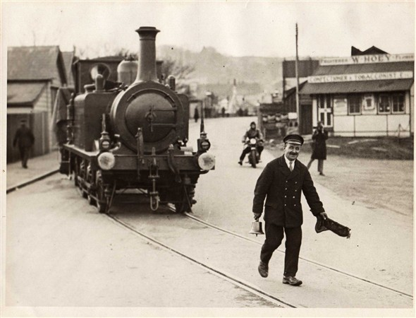 Photo:Harry in Railway Uniform.  Old railway fire station on the left.