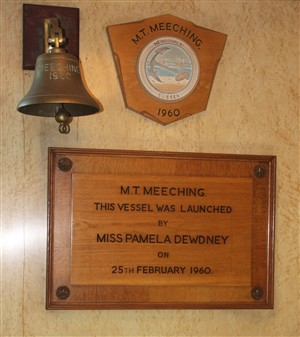 Photo:The original plaques and new bell in the Officers' Mess.