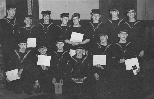 Photo:Year 1953/1954 (winter as all in black fronts and hats) at SCC Newhaven all recieved badges and prizes.