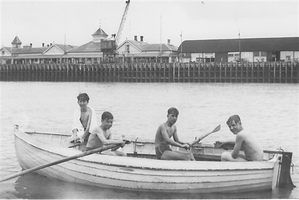 Photo:Year 1954/1955. Newhaven harbour, one of the small dinghies held at SCC Newhaven.