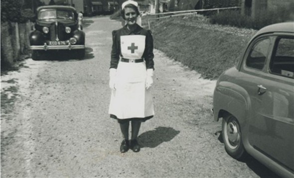 Photo:Staff member in Claremont Road - 1954